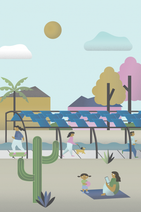 Illustration of a solar panel structure stretching over a canal, with people walking dogs, playing, and jogging on the banks of the canal.