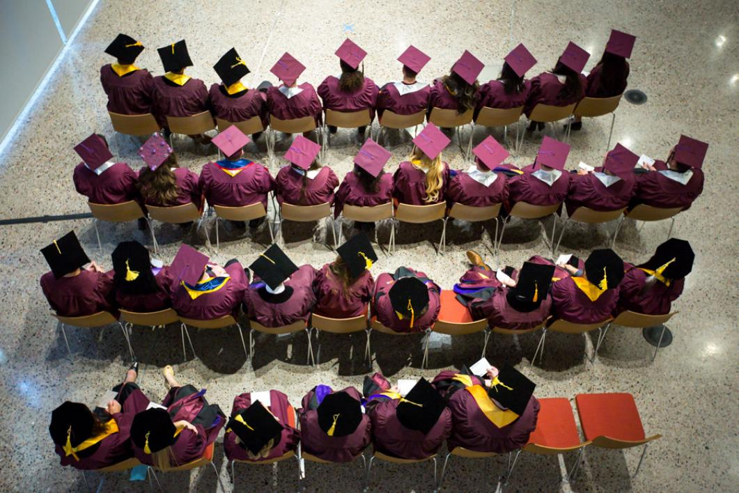 Overhead view of the graduates