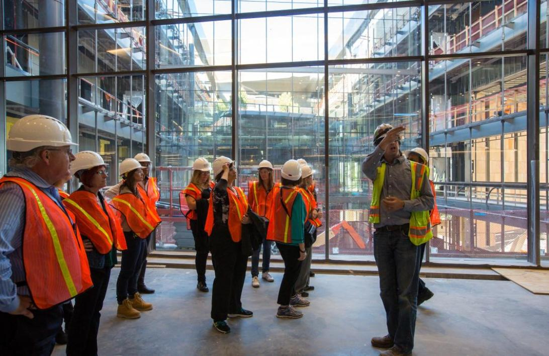 people touring new Arizona Center for Law and Society building