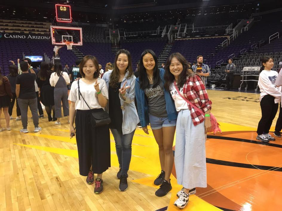 Global Launch classmates on Suns basketball court