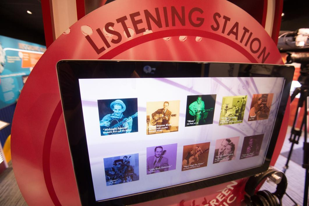 listening station at Les Paul exhibit