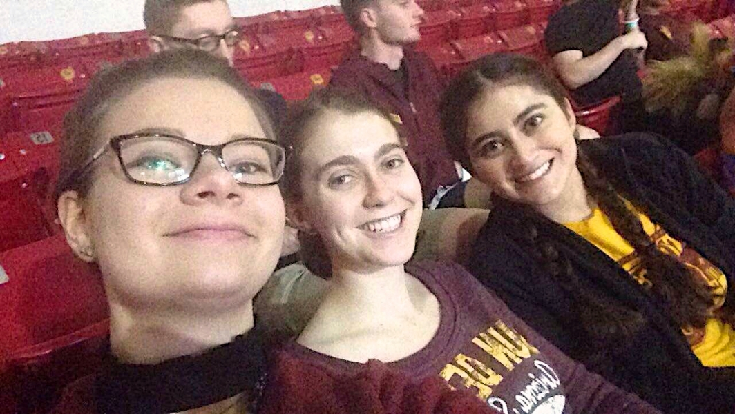 Lopez enjoying ASU basketball game with friends