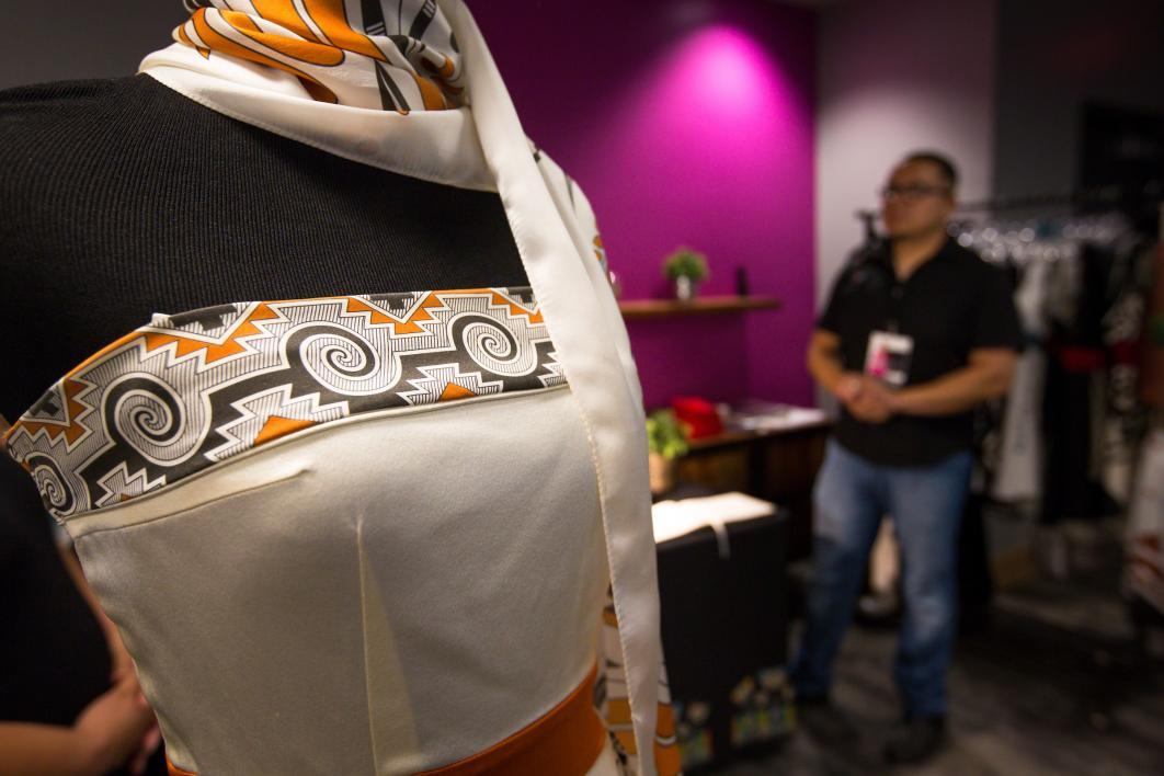 ASU alum and fashion designer Loren Aragon at a pop-up shop