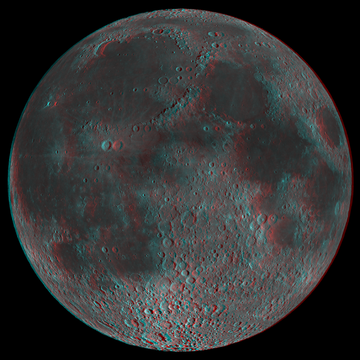 3-D image of the moon