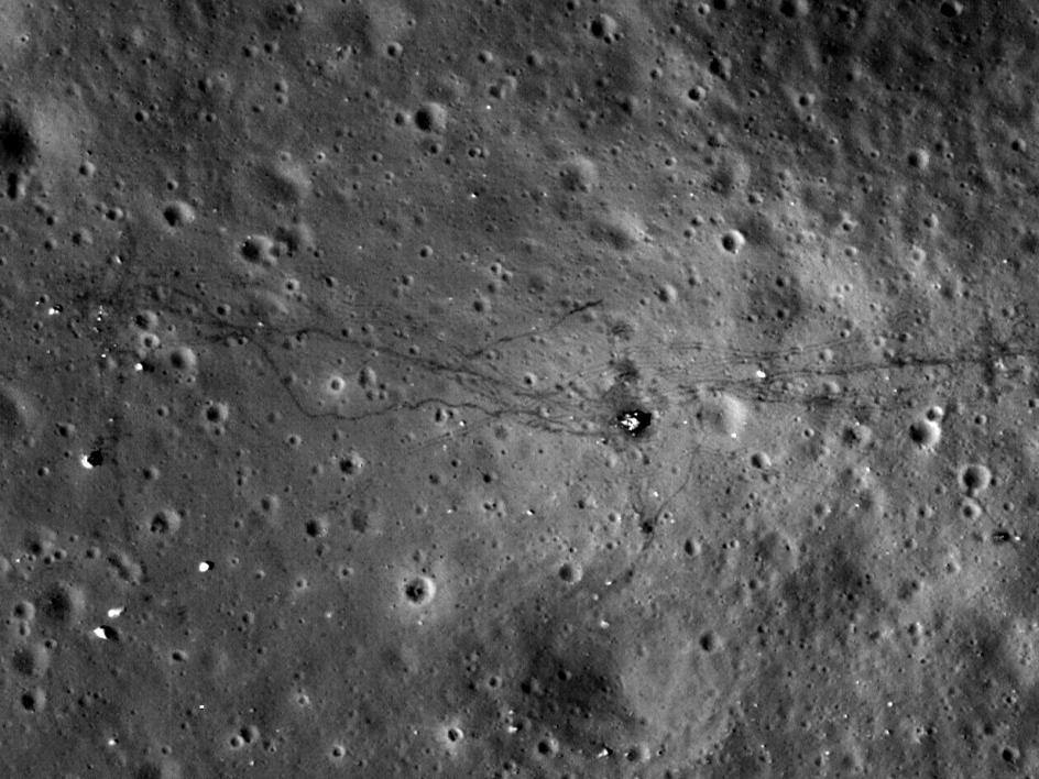 An image of footpaths on the moon
