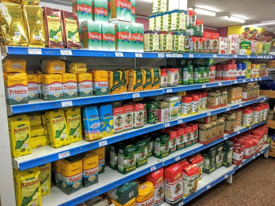 aisle full of yerba mate at a store