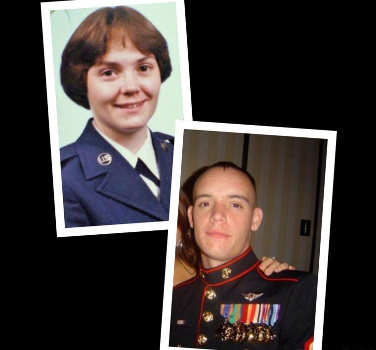 Mother and son veterans in their military photos