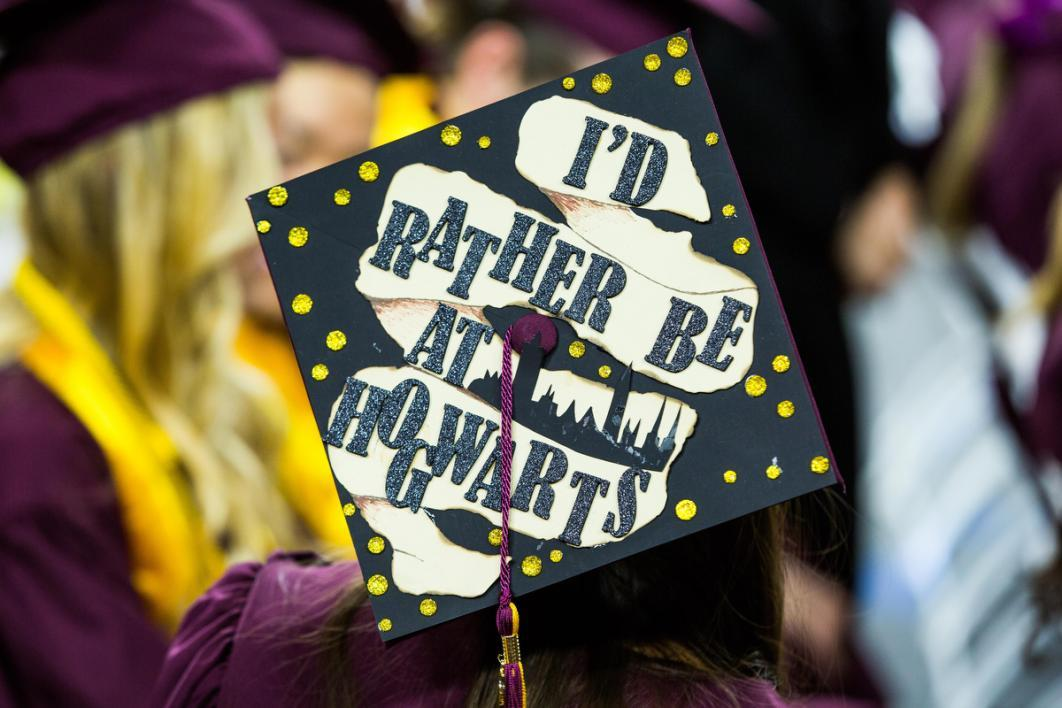 "A graduation cap says, ""I'd rather be at hogwarts"""