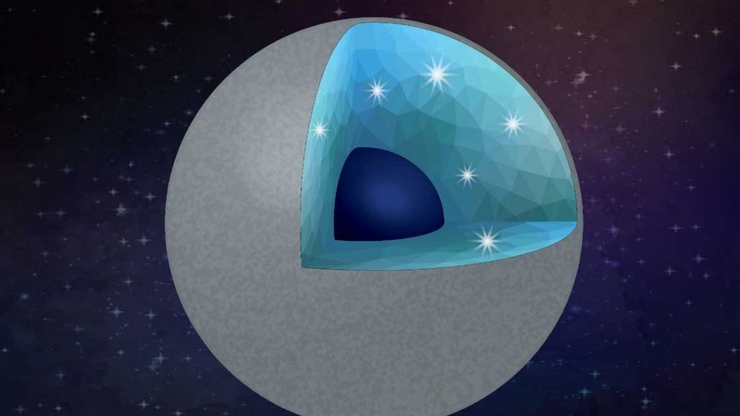 Illustration of a carbon-rich planet with diamond and silica as main minerals