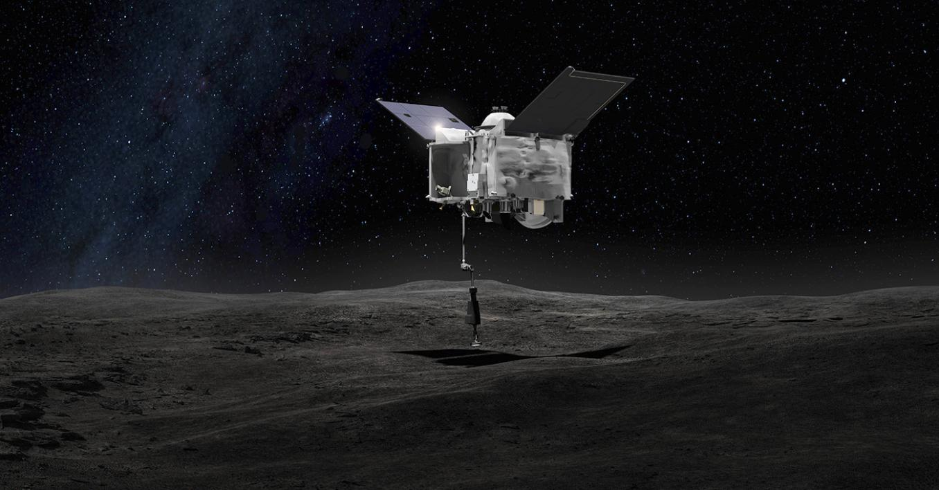 OSIRIS-REx spacecraft contacting the asteroid Bennu