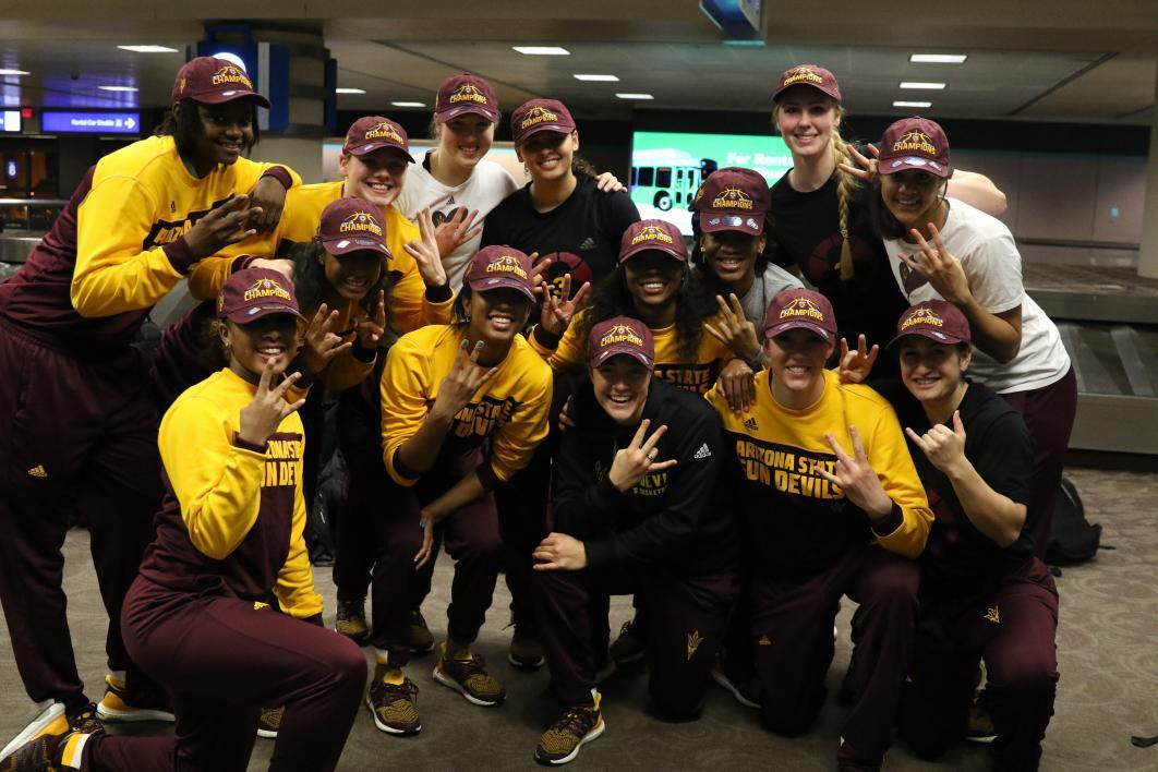 ASU athletes give the fork.