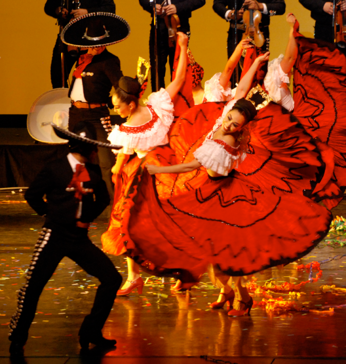 Mexican folklorico dancers on a stage
