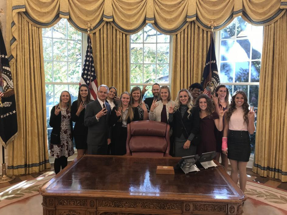 ASU triathlon team in Oval Office