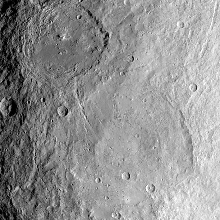 Urvara and Yalode Craters on dwarf planet Ceres