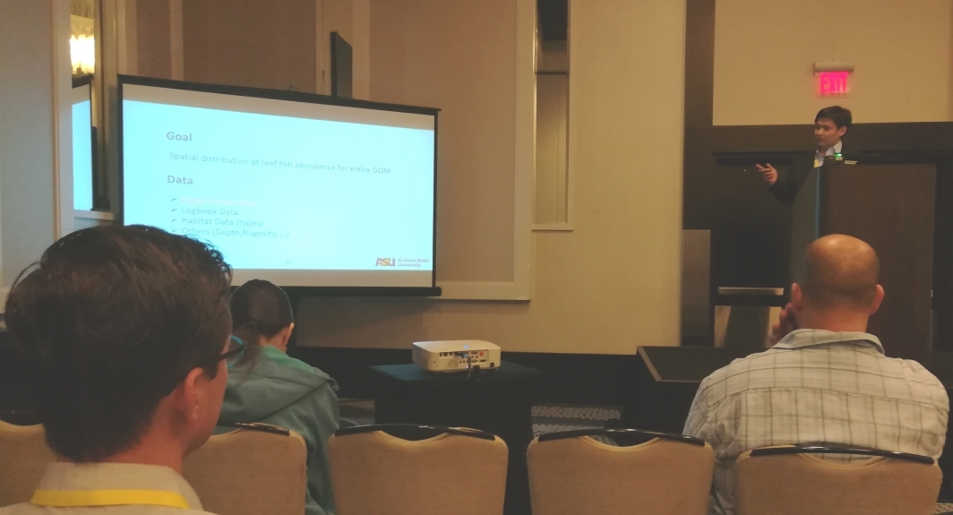 Xuetao Lu presents his statistical methods for the spatial analysis of Gulf of Mexico reef fish abundance at the 2018 Gulf of Mexico Oil Spill and Ecosystem Science Conference in New Orleans, Louisiana.