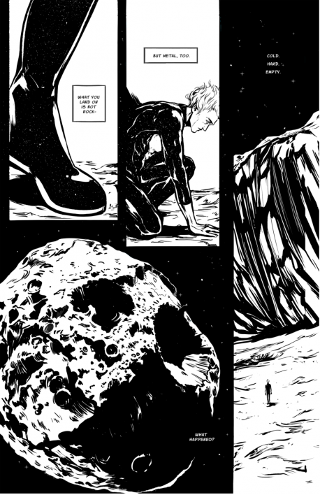 fictional comic depicting asteroid Psyche's origins