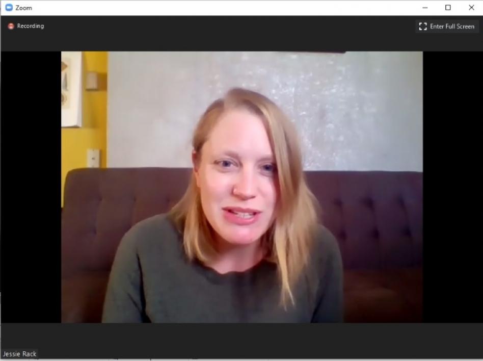 UofA ecologist Jessie Rack speaking in a Zoom meeting