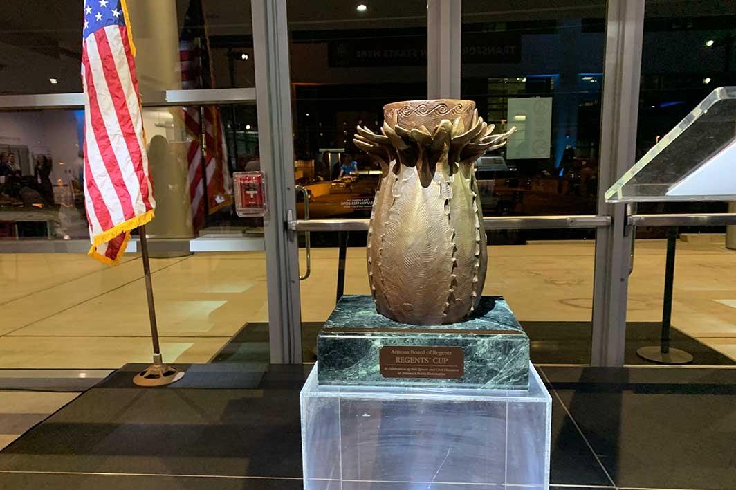 Regents Cup trophy sits on a pedestal