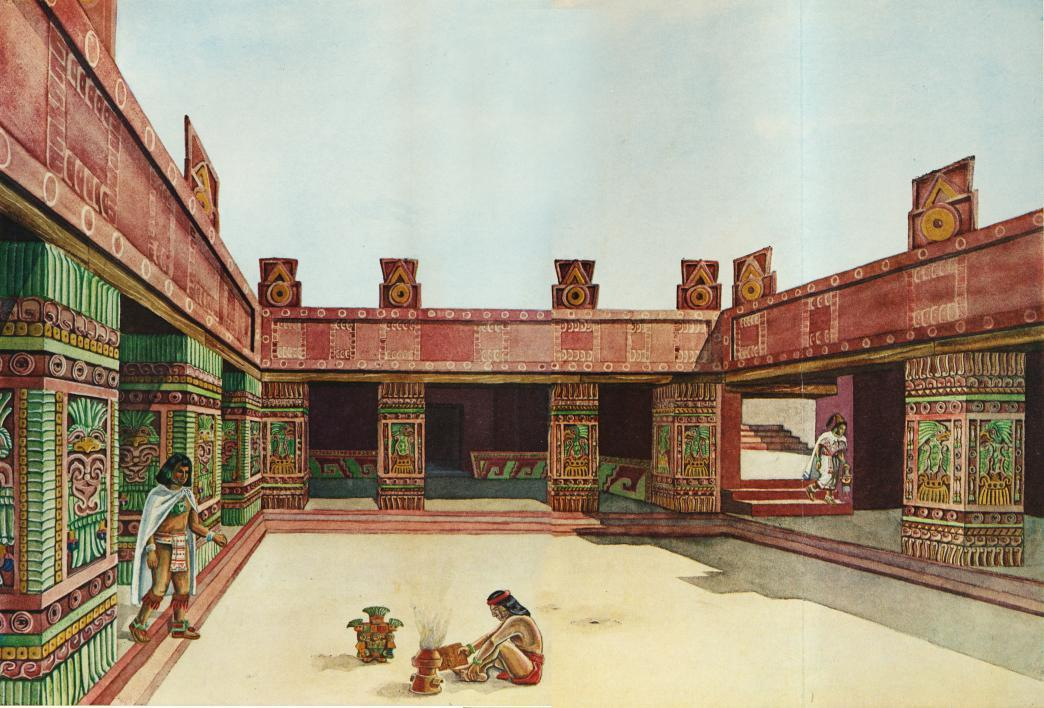 A rendering of the unique apartment compounds at Teotihuacan.