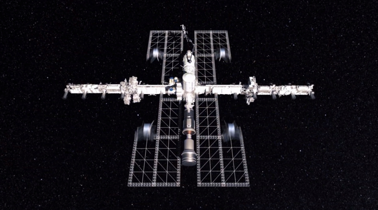 Additive manufacturing concept in space.