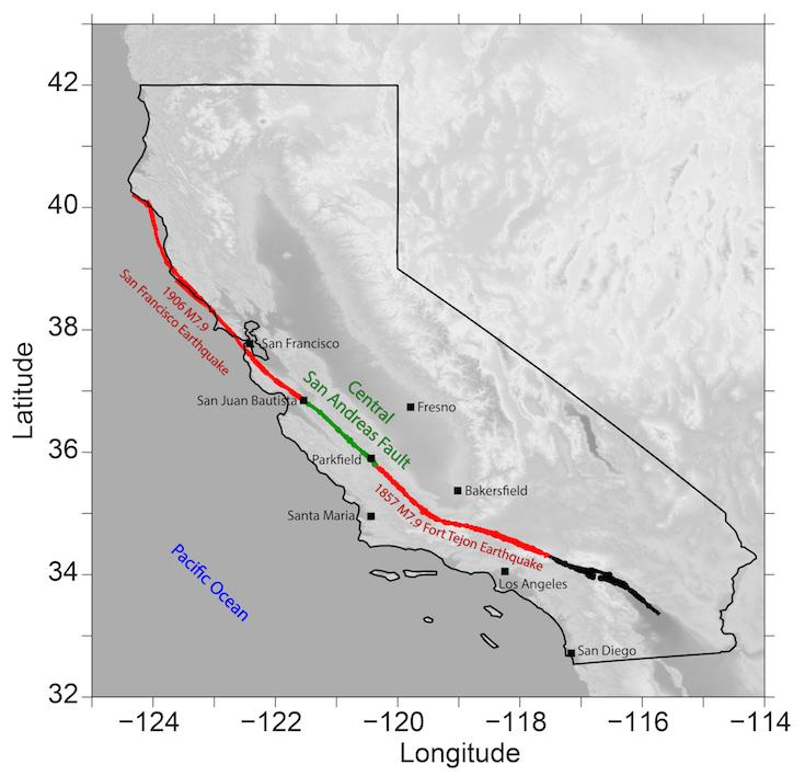Map Of Arizona Fault Lines.Slow Earthquakes On San Andreas Fault Increase Risk Of Large Quakes