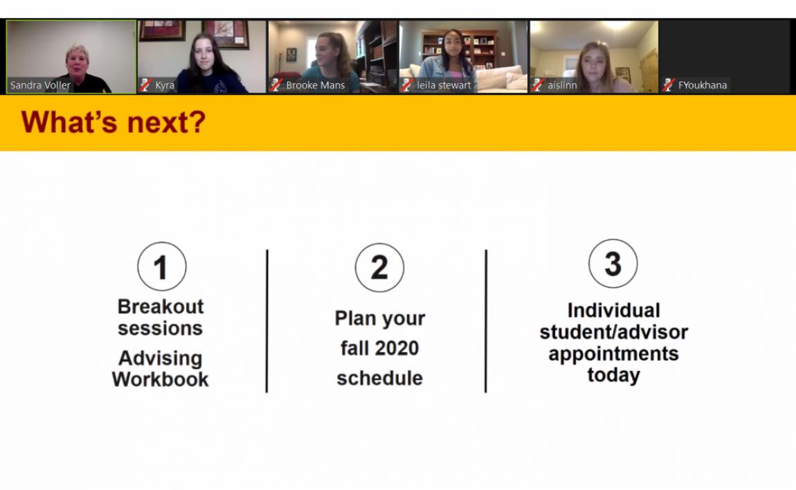 Screenshot of new student orientation online