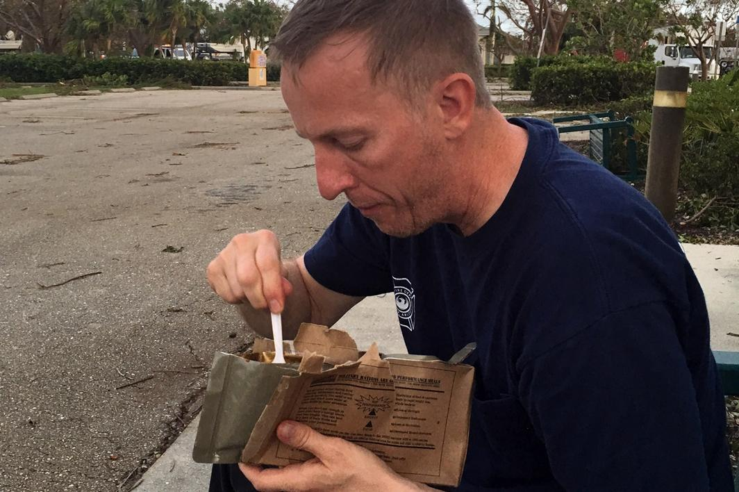 Scott Somers eating an MRE