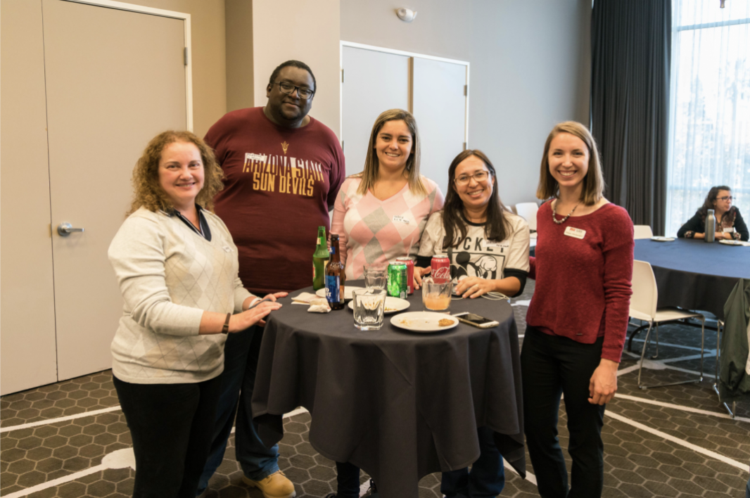 Brazilian Educators pose at networking event