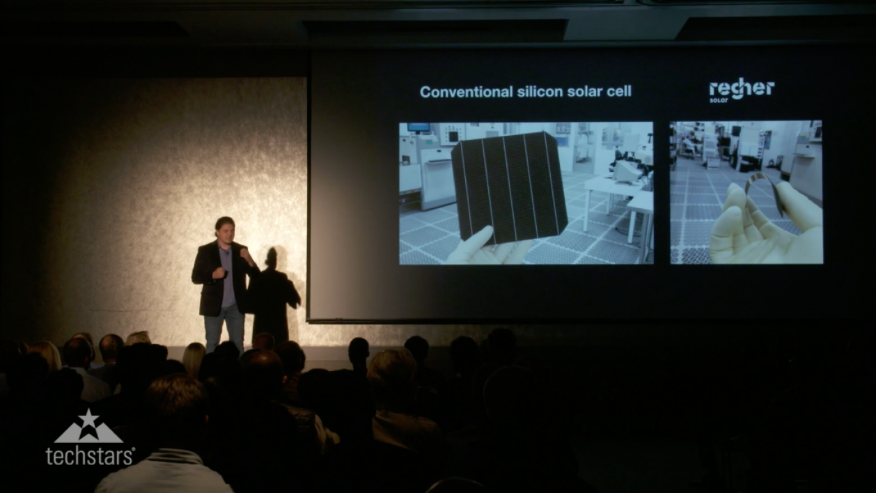 Stanislau Herasimenka pitches Regher Solar's technology at the Techstars Demo Day event in October.