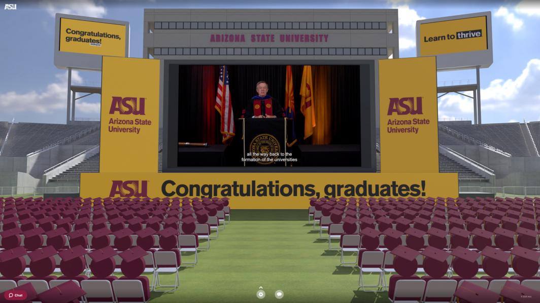 Spring 2021 Graduation in virtual Sun Devil Stadium campus created by PXL