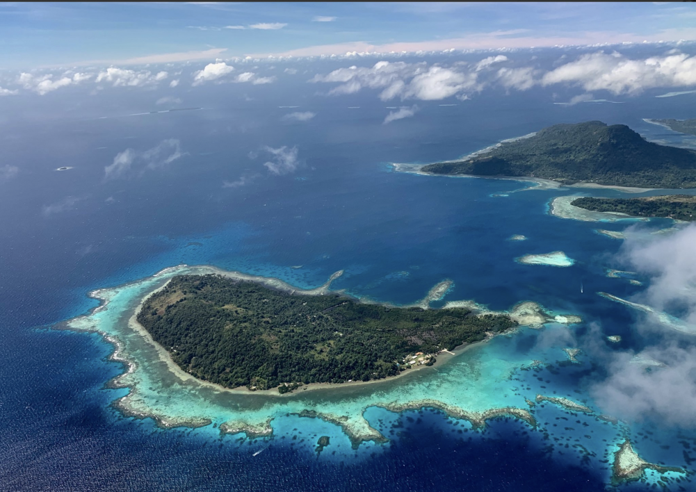 An aerial photo of the Micronesian coral reefs