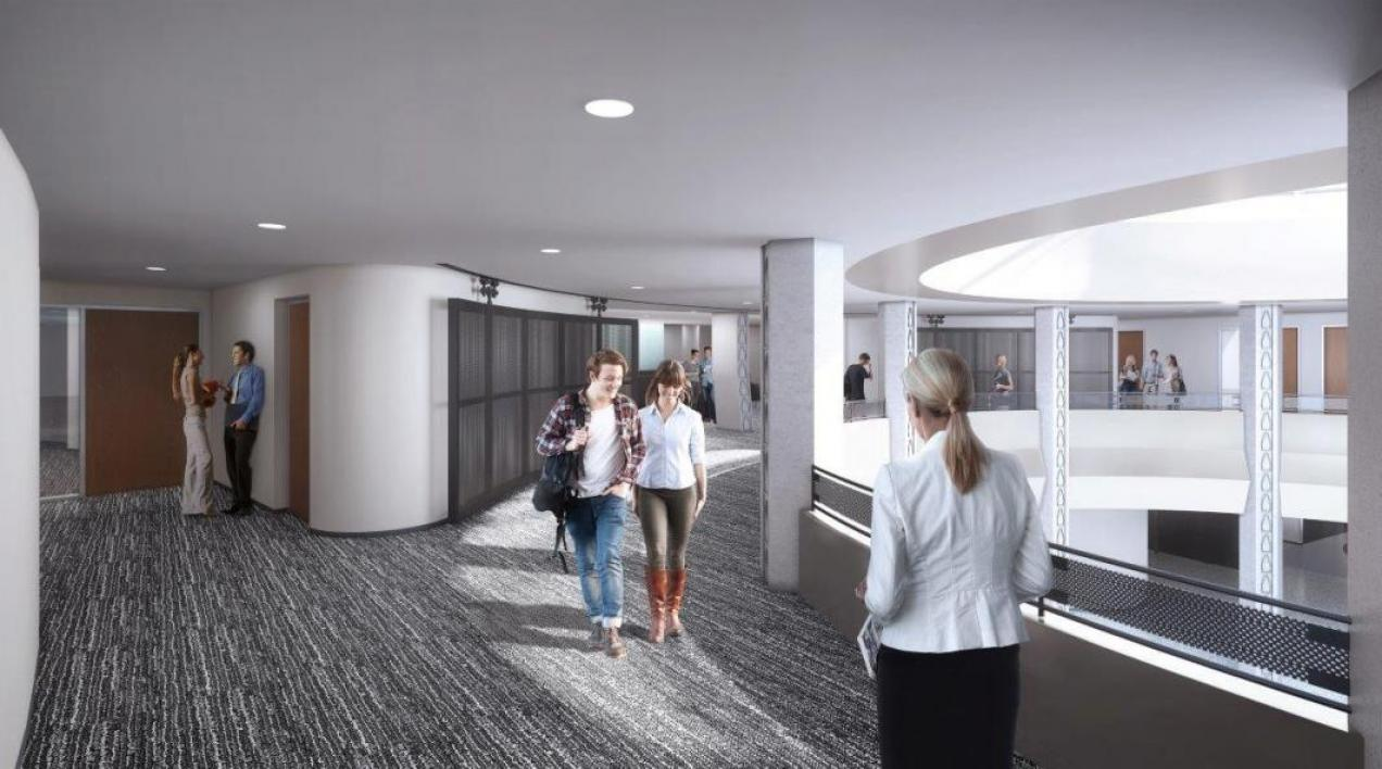 Rendering of second floor rotunda in Armstrong Hall