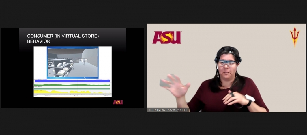 A Zoom screenshot of Lecturer Maria Elena Chavez-Echeagaray demonstrating a virtual reality store to teach SEE@ASU participants about user experience and computer science.