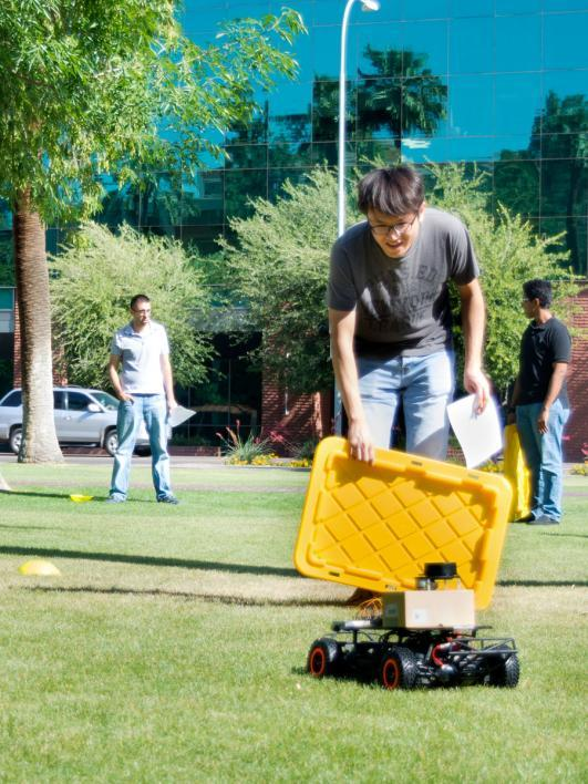 The third demonstration project added a LIDAR sensor to the car and with it the ability for obstacle avoidance. Photographer: Mihir Bhatt/ASU