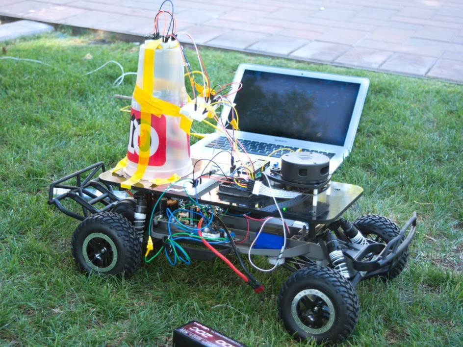 """Ahmed Moussa and Syed Ridhwaan's car, dubbed the """"Old Main QT Rover,"""" highlighted their creativity in a three-tier design that helped avoid interference between the magnetometer and other magnetic parts."""