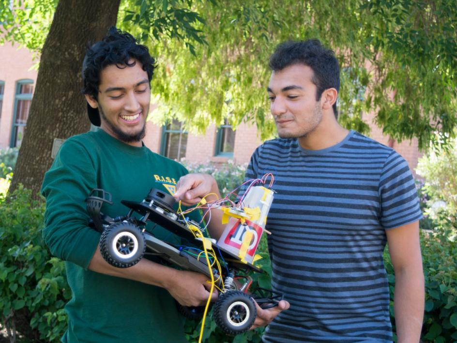 Ridhwaan and Moussa were very proud of their design and their accomplishments throughout the course. Photographer: Mihir Bhatt/ASU