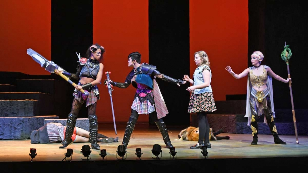 Four actors on stage in a scene from the Herberger Institute production of She Kills Monsters