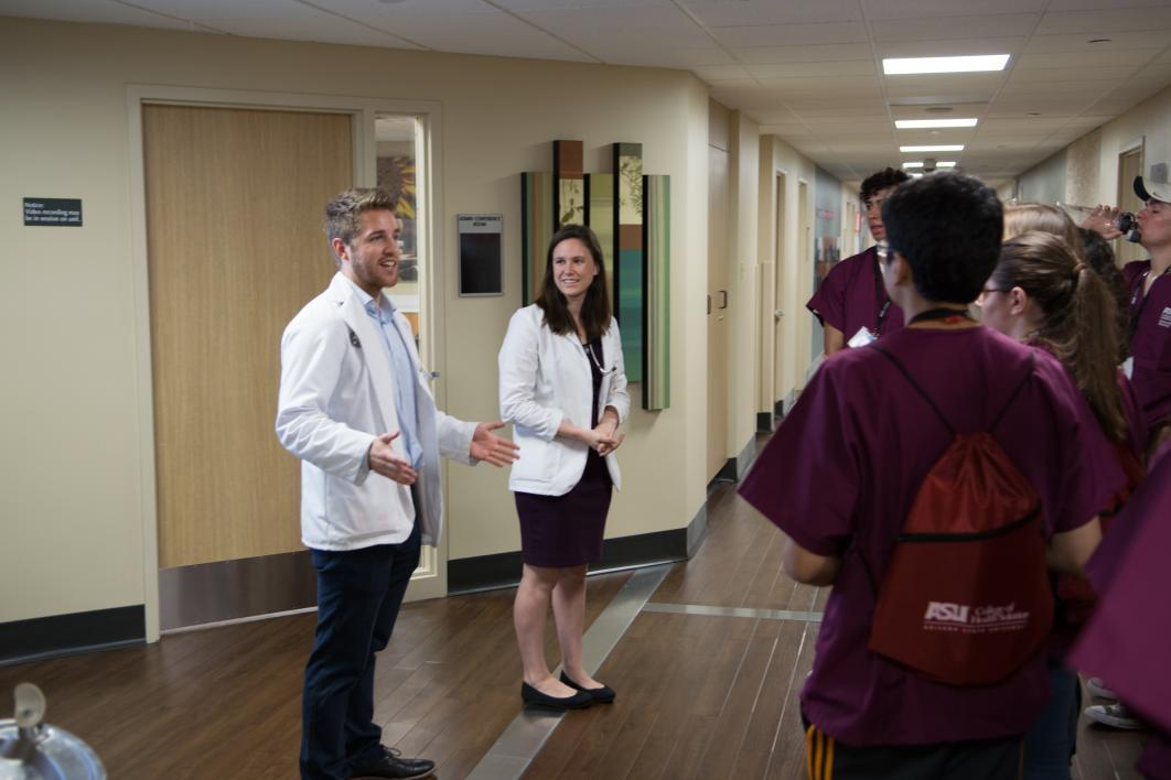 medical students lead a tour