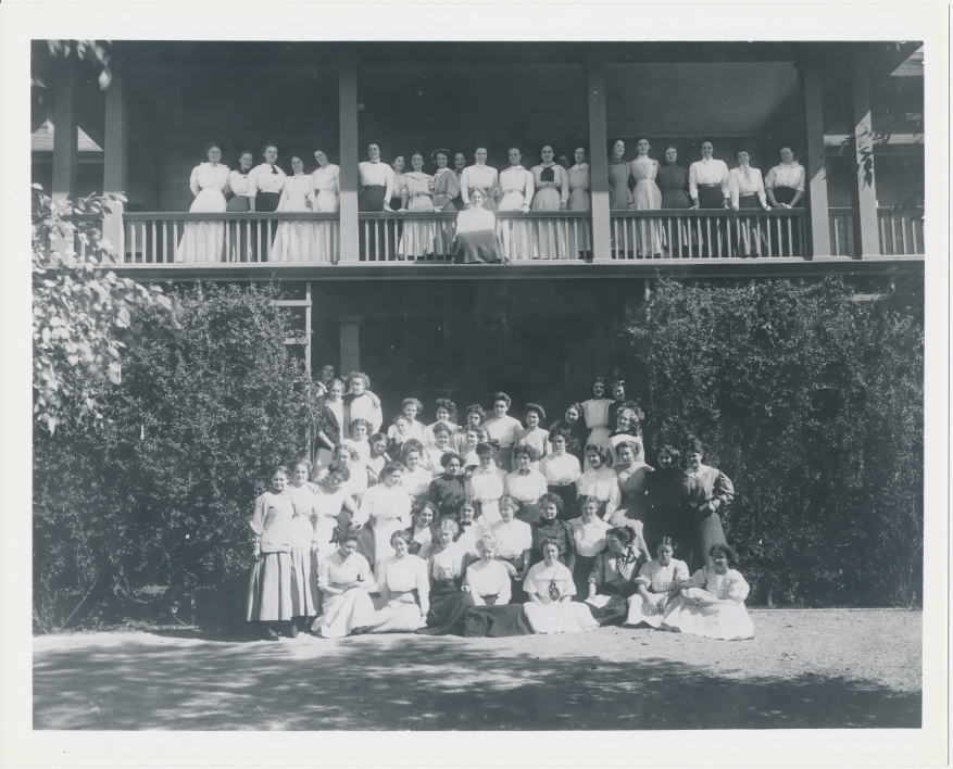 Agnes Smedley with the East Hall Women's Dormitory Residents