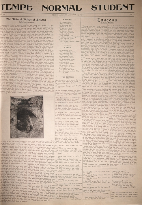 "Smedley'sphoto of Agnes Smedley's article, ""Tascosa,"" published on Jan. 19, 1912, in the Tempe Normal Student"