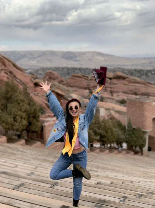 Sofia Chen at the famed Red Rocks Amphitheatre in Colorado