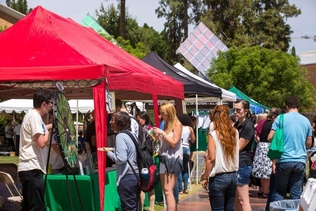 vendor tents on a college mall