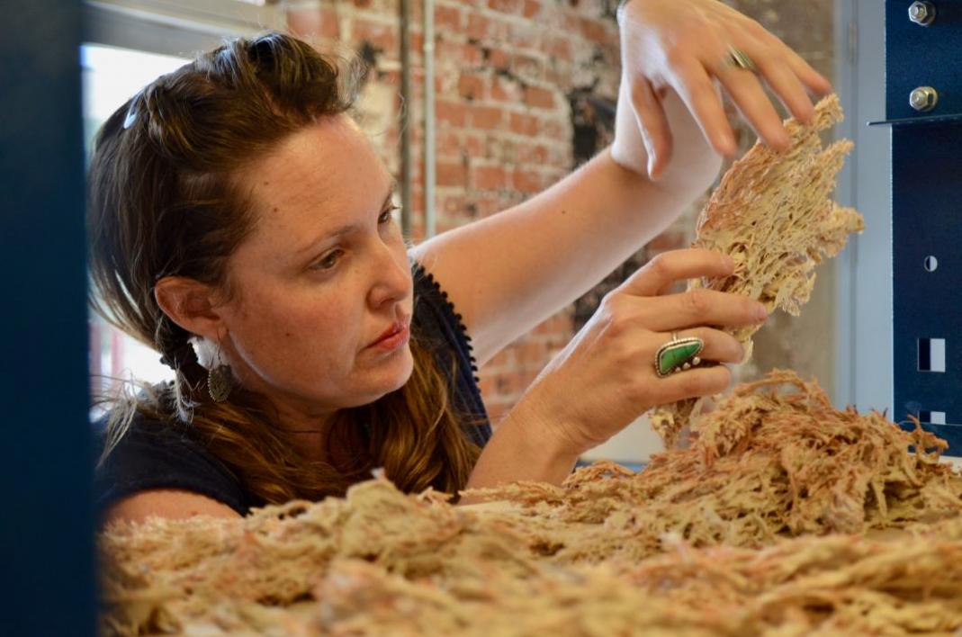 ASU graduate student Brandi Lee Cooper prepares a ceramic piece for Sculpting Science