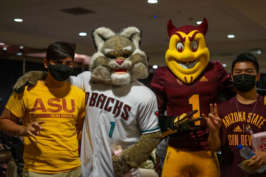 Sparky, special events management students, Baxter, ASU Night at the Diamondbacks