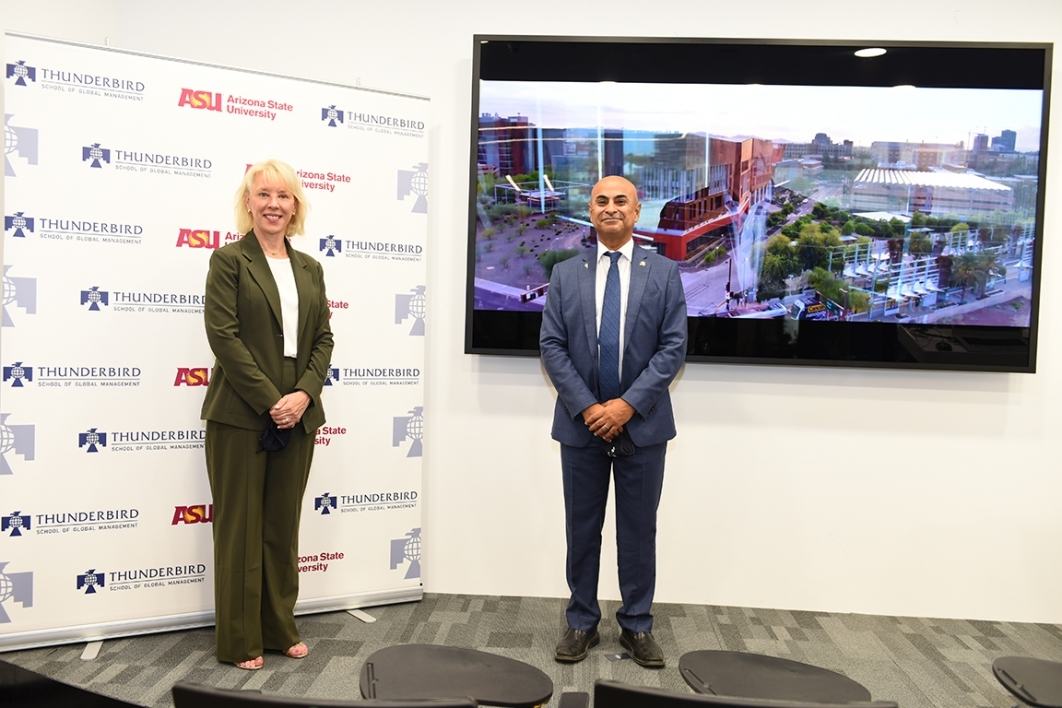 Stefanie Lindquist and Sanjeev Khagram at the launch of Thunderbird Global Innovation Center in Dubai