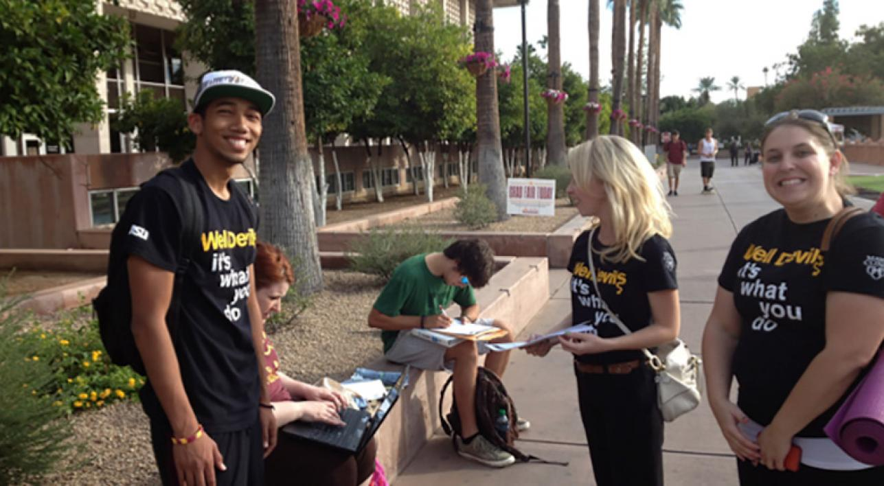 ASU students practice their interview techniques on the Tempe campus mall.