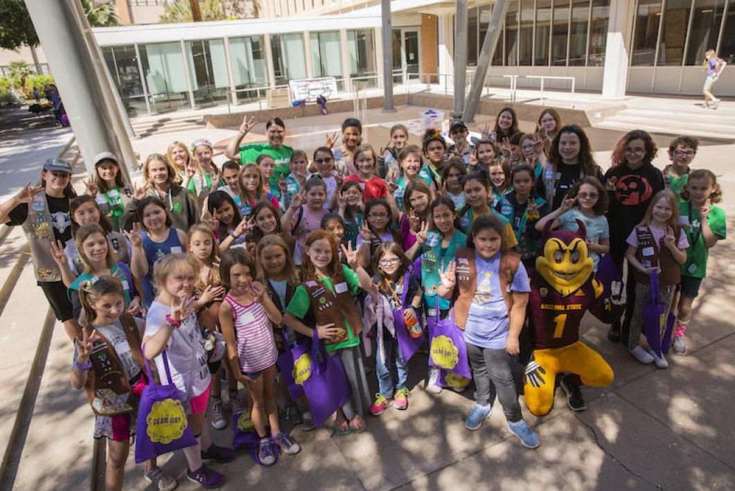 A group of Girl Scouts at ASU's GEAR Day