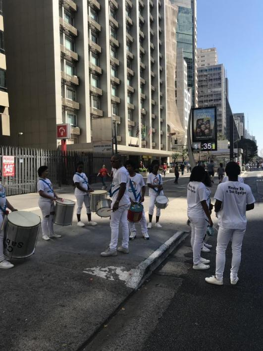 drummers in street in Brazil