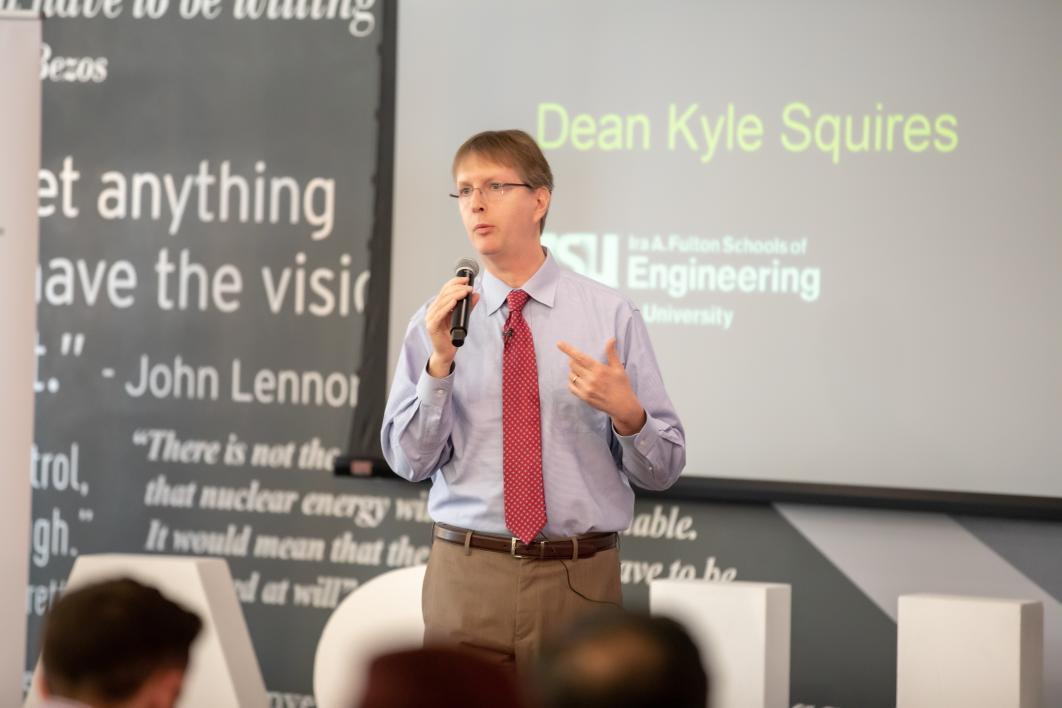 Kyle Squires speaks at the ASU Innovation Open finals.