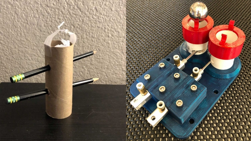 Left: a prototype of the marker dropper made from recycled materials. Right: the final version of the marker dropper.
